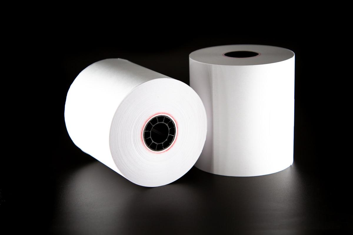 1 Ply Bond Receipt Paper Rolls 3? x 165? - (Box of 10 Rolls)